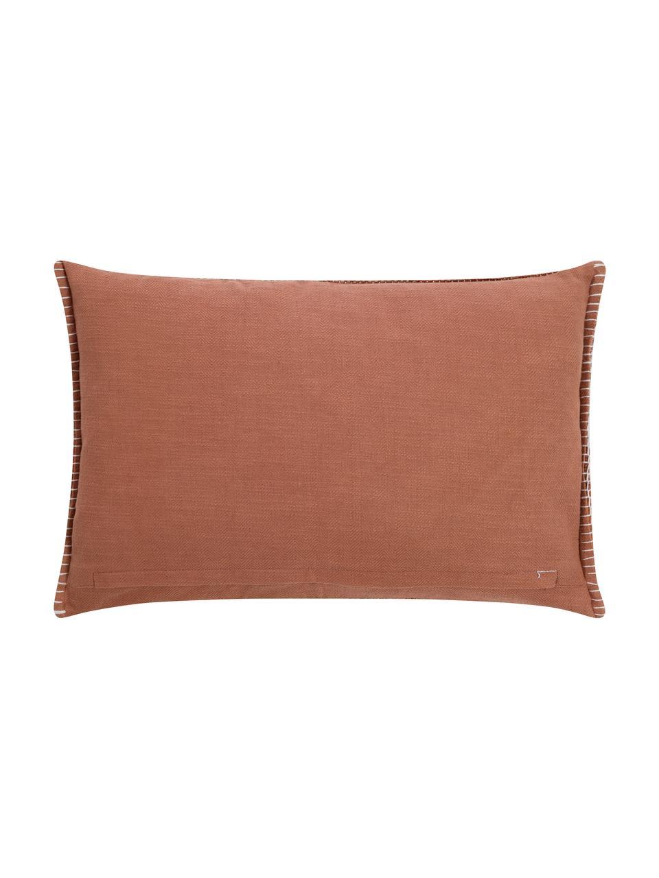 Gemusterte Kissenhülle Nouria mit Struktur-Oberfläche, Vorderseite: 100% Polyester, Rückseite: 100% Baumwolle, Terrakotta, 40 x 60 cm