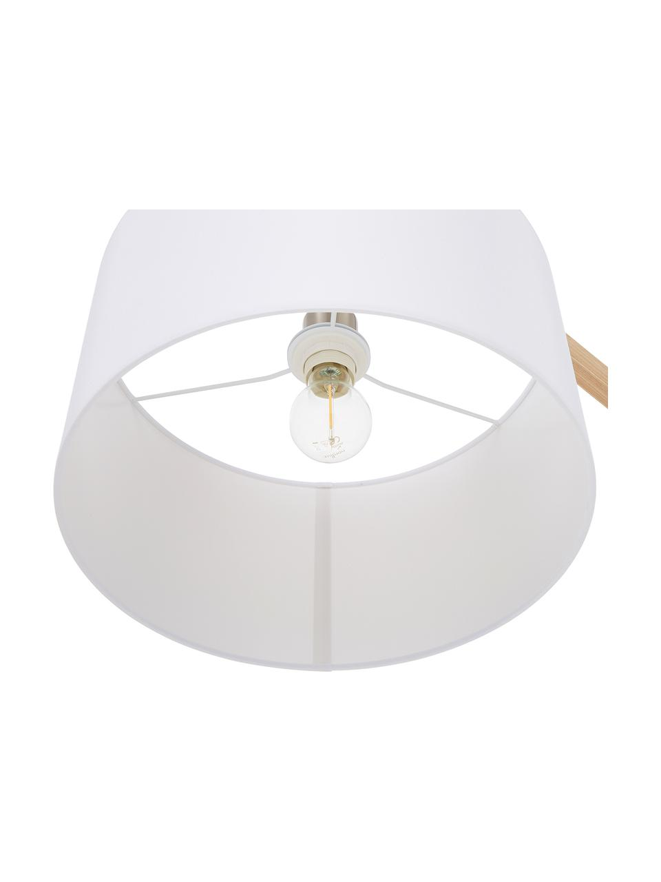 Skandi-Leselampe Woody, Lampenschirm: Baumwollgemisch, Lampenfuß: Metall mit Echtholzfurnie, Holzfurnier, Weiß, 81 x 166 cm