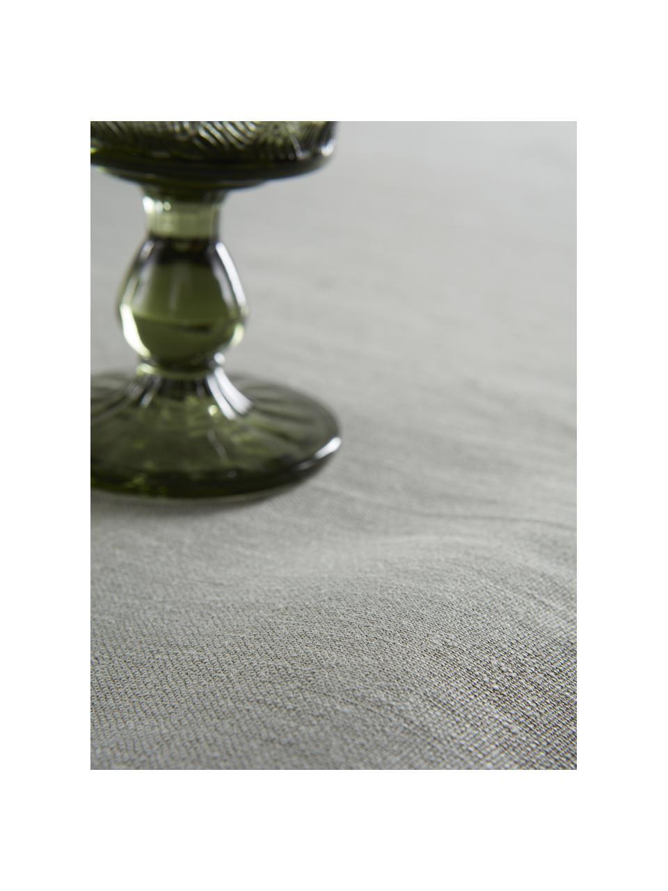 Leinen-Tischdecke Heddie in Graugrün, 100% Leinen, Graugrün, Für 4 - 6 Personen (B 145 x L 200 cm)