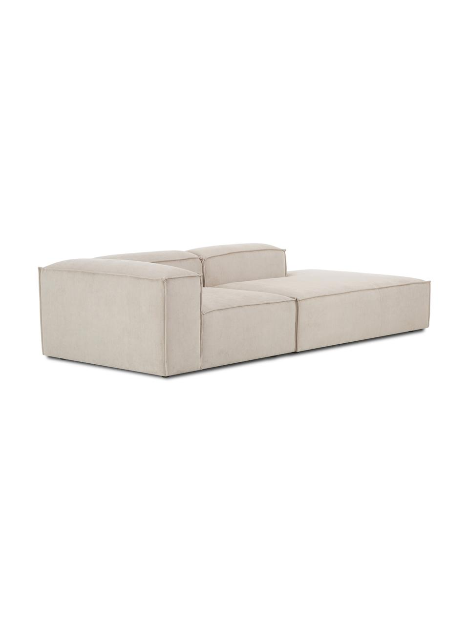 Modulaire chaise longue Lennon in beige van corduroy, Bekleding: corduroy (92% polyester, , Frame: massief grenenhout, multi, Poten: kunststof De poten bevind, Corduroy beige, B 269 x D 119 cm