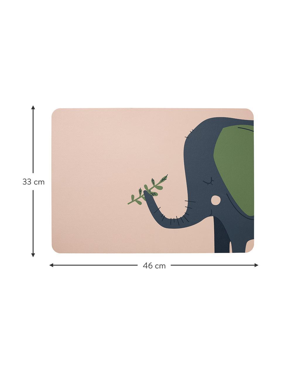 Tischset Leo Emma Elefant, 2 Stück, PVC mit Lederoptik, Hellrosa, Blau, Grün, 33 x 46 cm