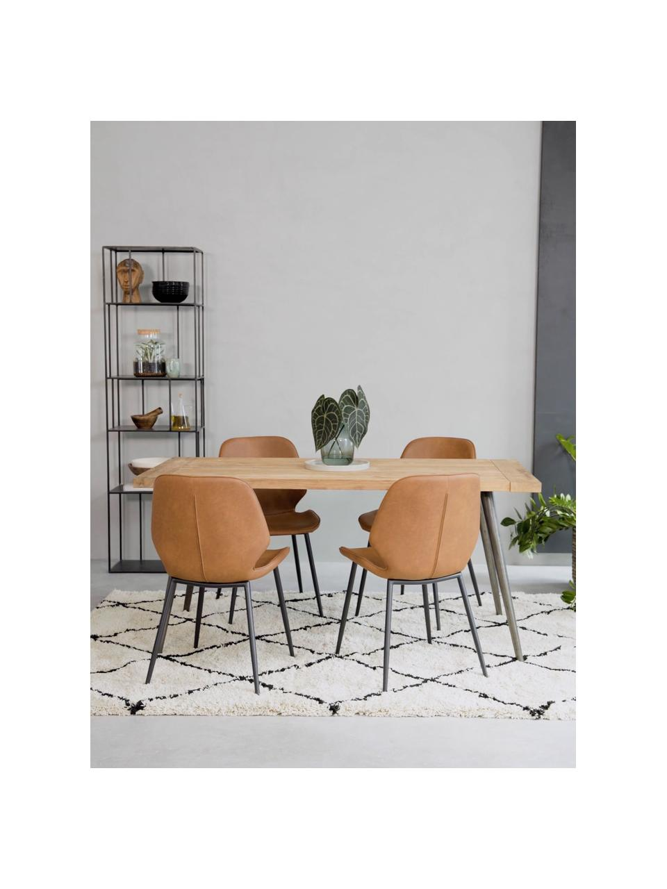 Krzesło tapicerowane ze sztucznej skóry  Louis, 2 szt., Tapicerka: sztuczna skóra (65% polie, Tapicerka: pianka, Nogi: metal malowany proszkowo, Koniakowy, S 44 x G 58 cm