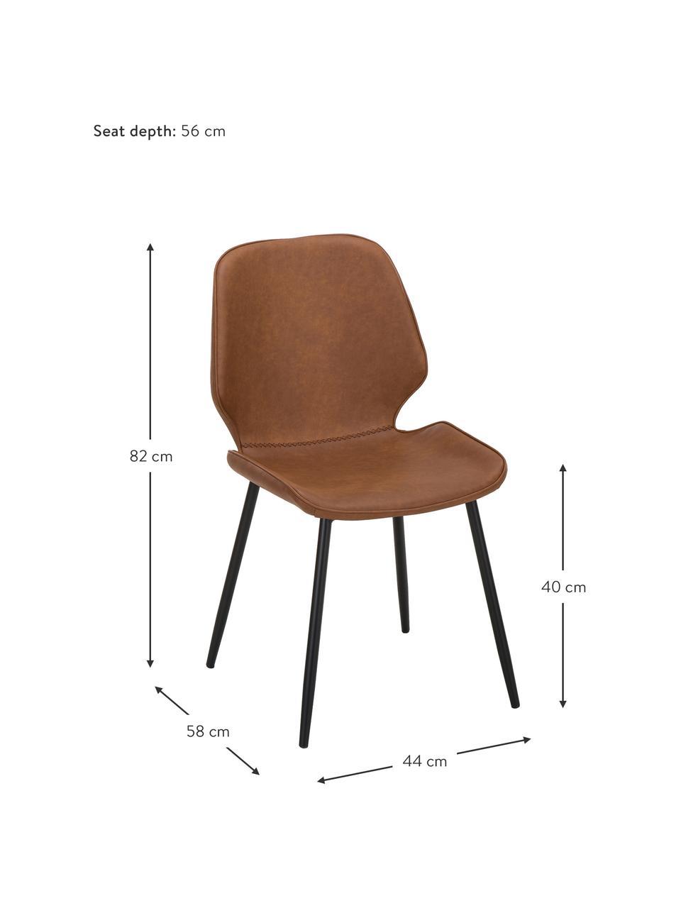 Imitatieleren gestoffeerde stoelen Louis, 2 stuks, Bekleding: kunstleer (65% polyethyle, Poten: gepoedercoat metaal, Cognackleurig, 44 x 58 cm