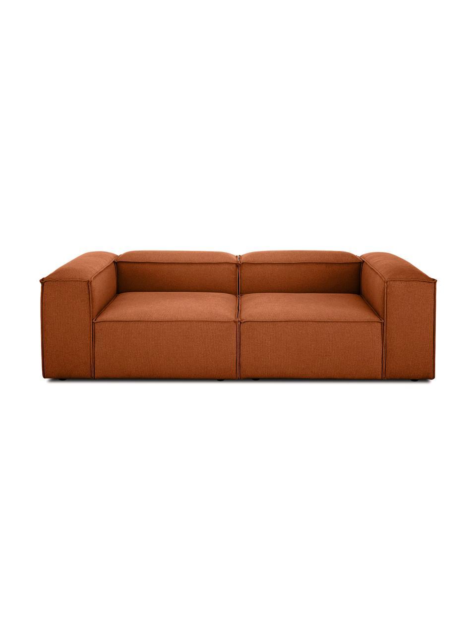 Sofa modułowa Lennon (3-osobowa), Tapicerka: poliester Dzięki tkaninie, Stelaż: lite drewno sosnowe, skle, Nogi: tworzywo sztuczne Nogi zn, Terakota, S 238 x G 119 cm
