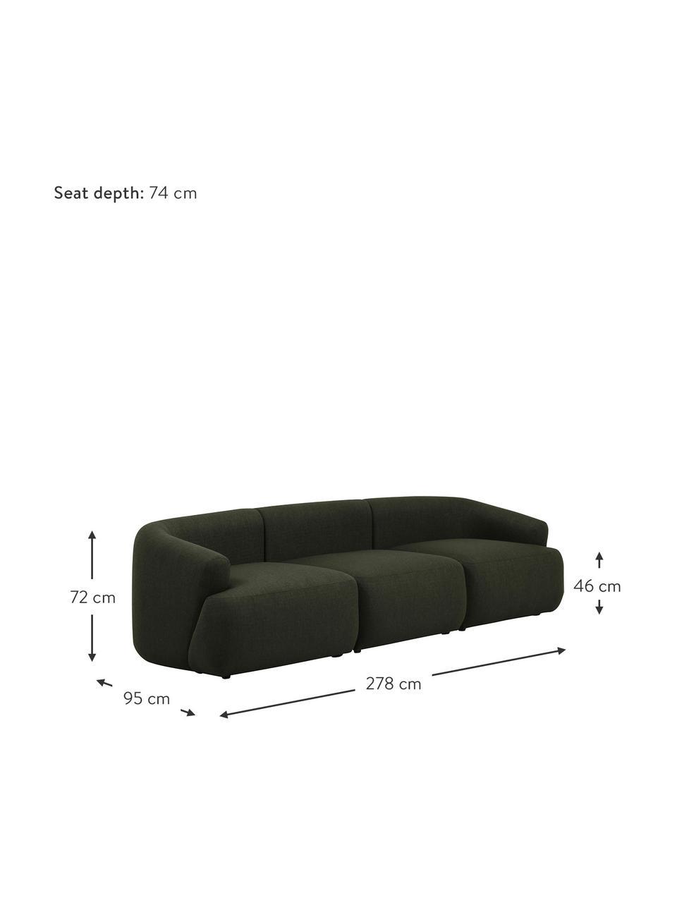 Sofa modułowa Sofia (3-osobowa), Tapicerka: 100% polipropylen Dzięki , Stelaż: lite drewno sosnowe, płyt, Nogi: tworzywo sztuczne, Zielony, S 278 x G 95 cm