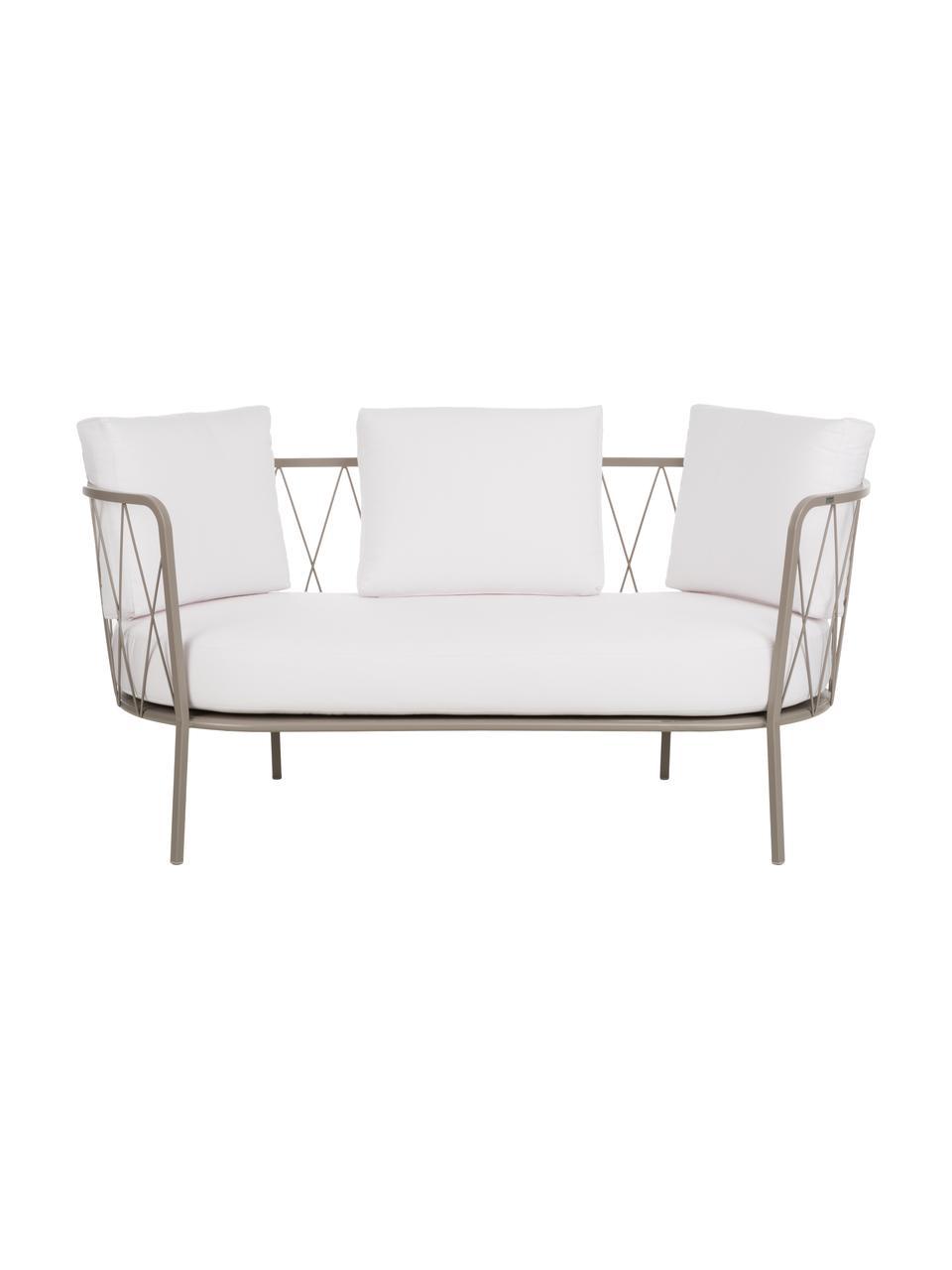 Gartensofa Sunderland mit Sitzpolster (2-Sitzer), Gestell: Stahl, galvanisch verzink, Bezug: Polyacryl, Gestell: Taupe Sitz- und Rückenkissen: Creme, 162 x 73 cm