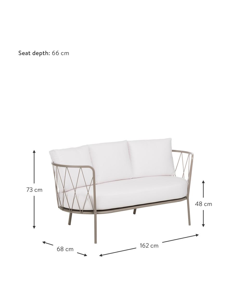 Sofa ogrodowa z tapicerowanym siedziskiem Sunderland (2-osobowa), Stelaż: stal cynkowana galwaniczn, Stelaż: taupe Siedzisko i oparcie: kremowy, S 162 x G 68 cm