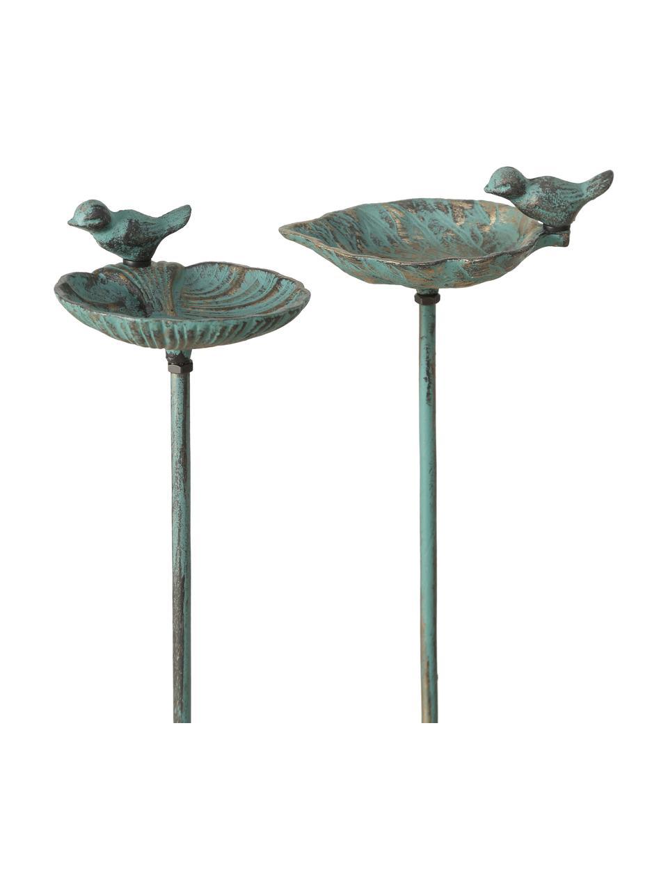 Set 2 vasche per uccelli League, Metallo rivestito, Verde, dorato con finitura antica, Larg. 20 x Alt. 98 cm