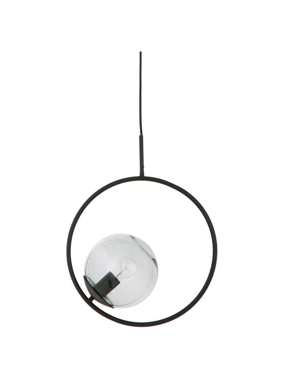 Lampa wisząca ze szkła dymnego Chloe, Szary, czarny, S 40 x W 51 cm