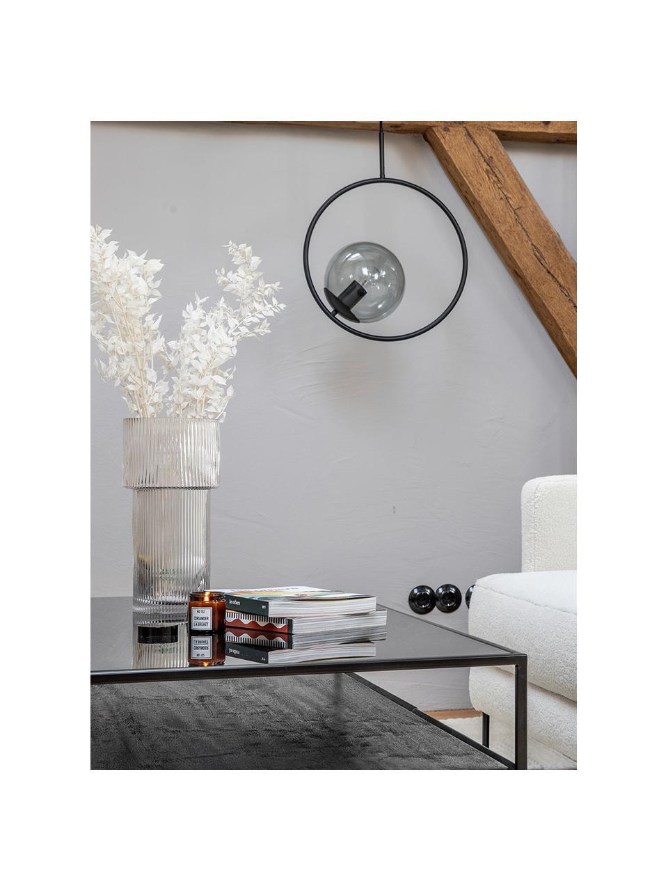 Pendelleuchte Chloe aus Rauchglas, Lampenschirm: Rauchglas, Baldachin: Metall, pulverbeschichtet, Grau, Schwarz, 40 x 51 cm