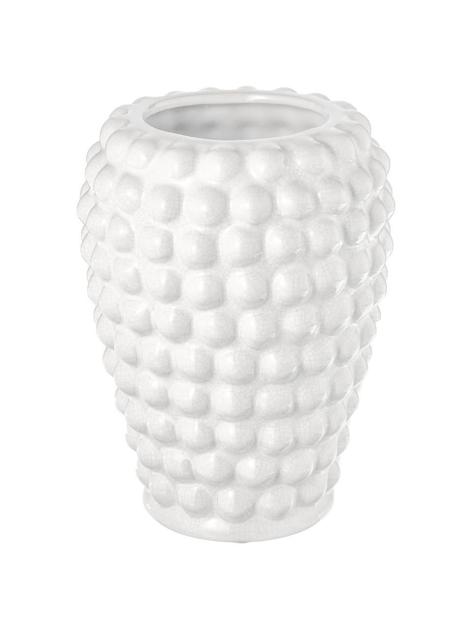 Vase décoratif en céramique Dotty, Blanc ivoire