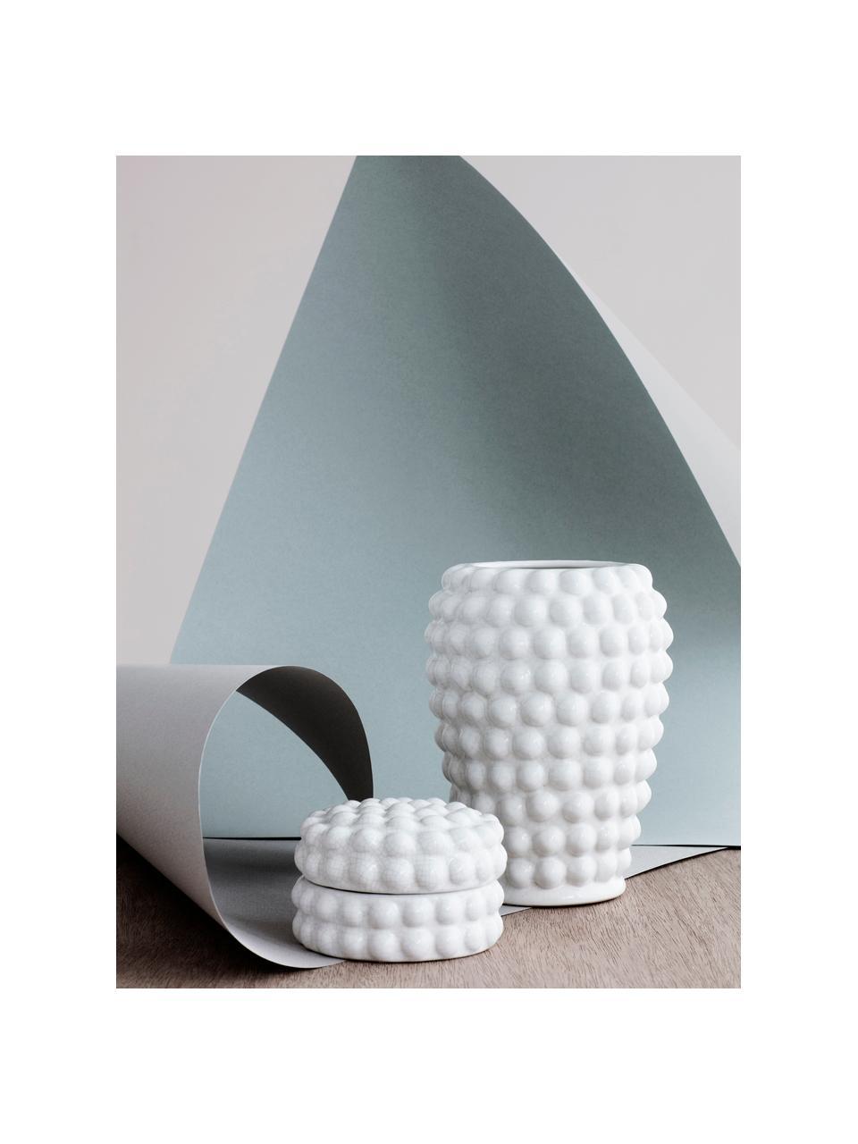 Deko-Vase Dotty aus Keramik, Keramik, glasiert und nicht wasserdicht, Elfenbeinfarben, Ø 14 x H 20 cm