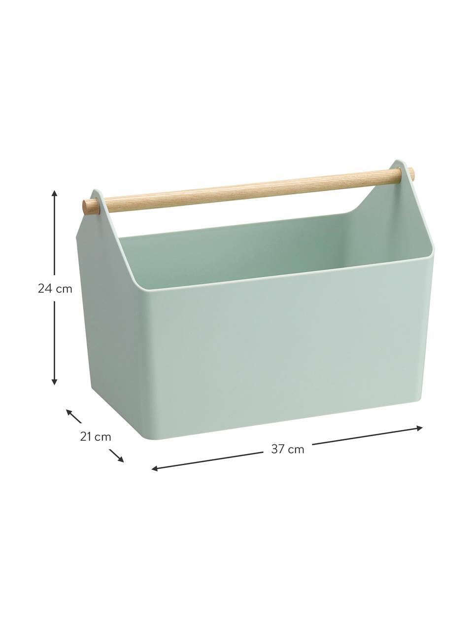Aufbewahrungskorb Favori, Korb: Polypropylen, Griff: Holz, Mintgrün, Braun, 37 x 24 cm