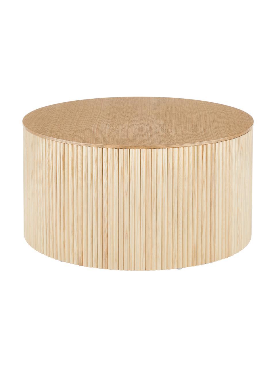 Tavolino contenitore rotondo in legno Nele, Pannello di fibra a media densità (MDF) con finitura in legno di frassino, Marrone chiaro, Ø 70 x Alt. 36 cm