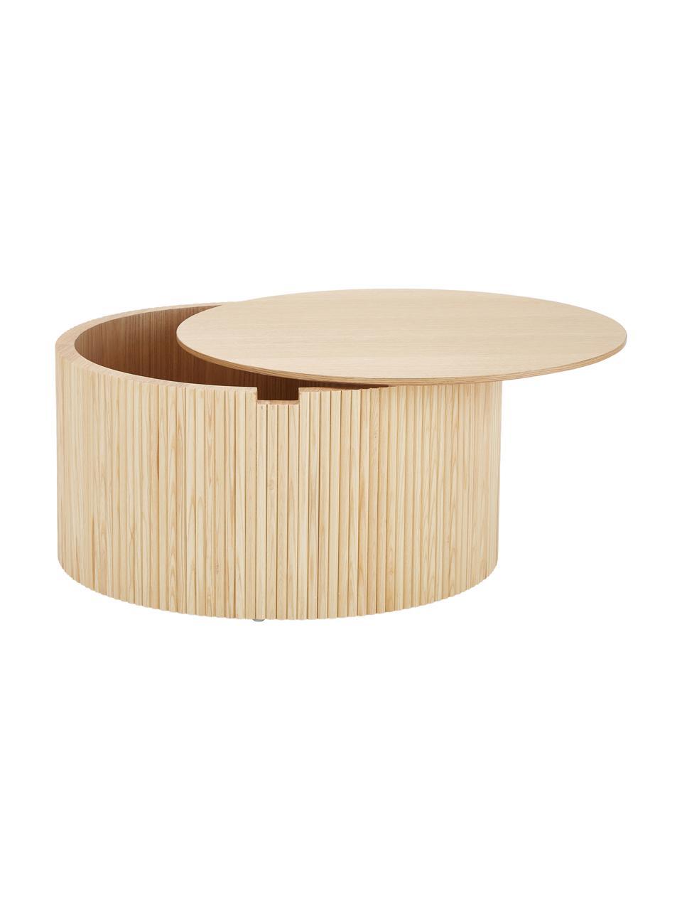 Tavolino contenitore rotondo in legno Nele, Pannello di fibra a media densità (MDF) con finitura in legno di frassino, Finitura in legno di frassino, Ø 70 x Alt. 36 cm