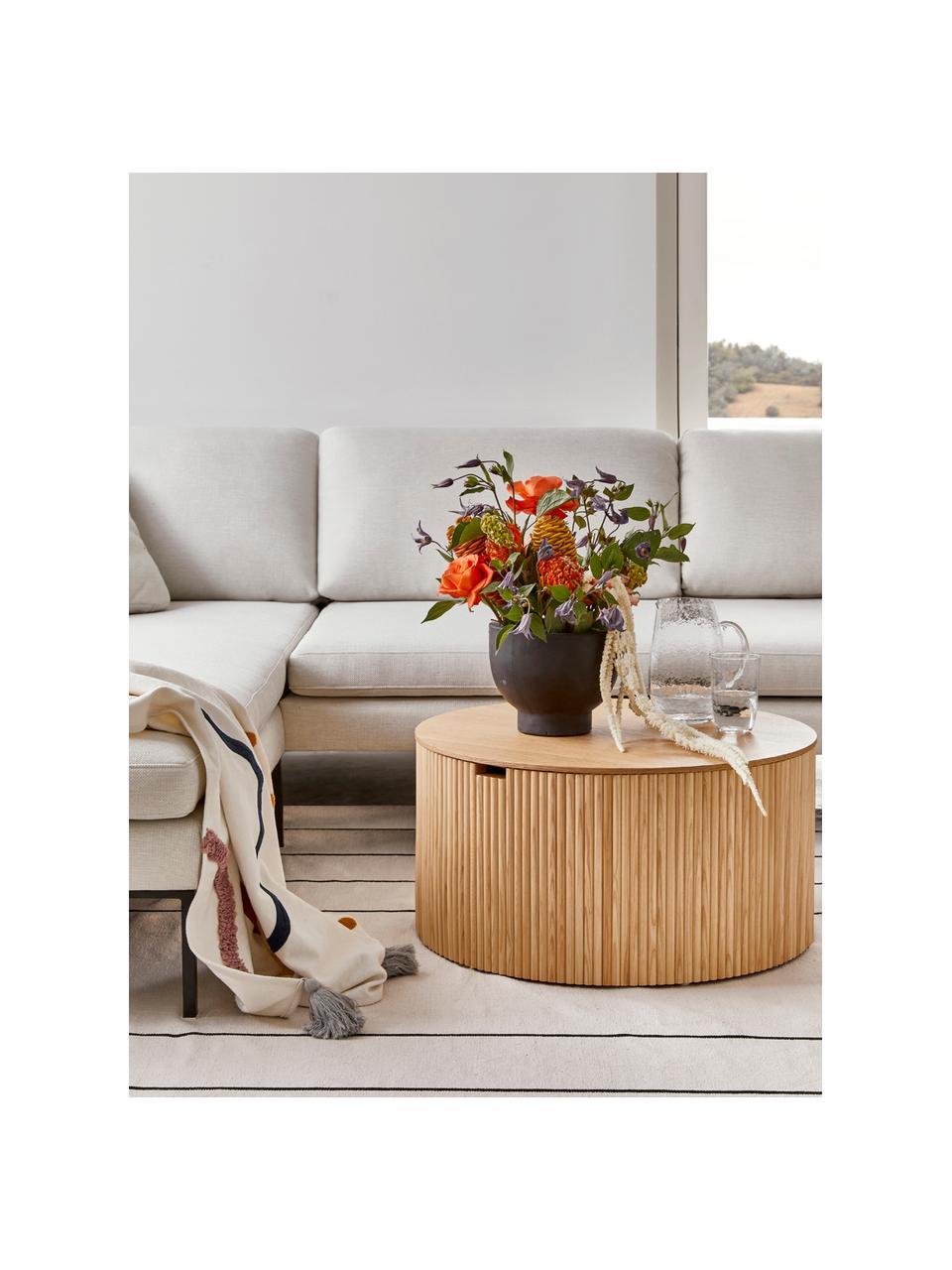 Stolik kawowy z drewna z miejscem do przechowywania Nele, Płyta pilśniowa (MDF) z fornirem z drewna jesionowego, Jasny brązowy, Ø 70 x W 36 cm
