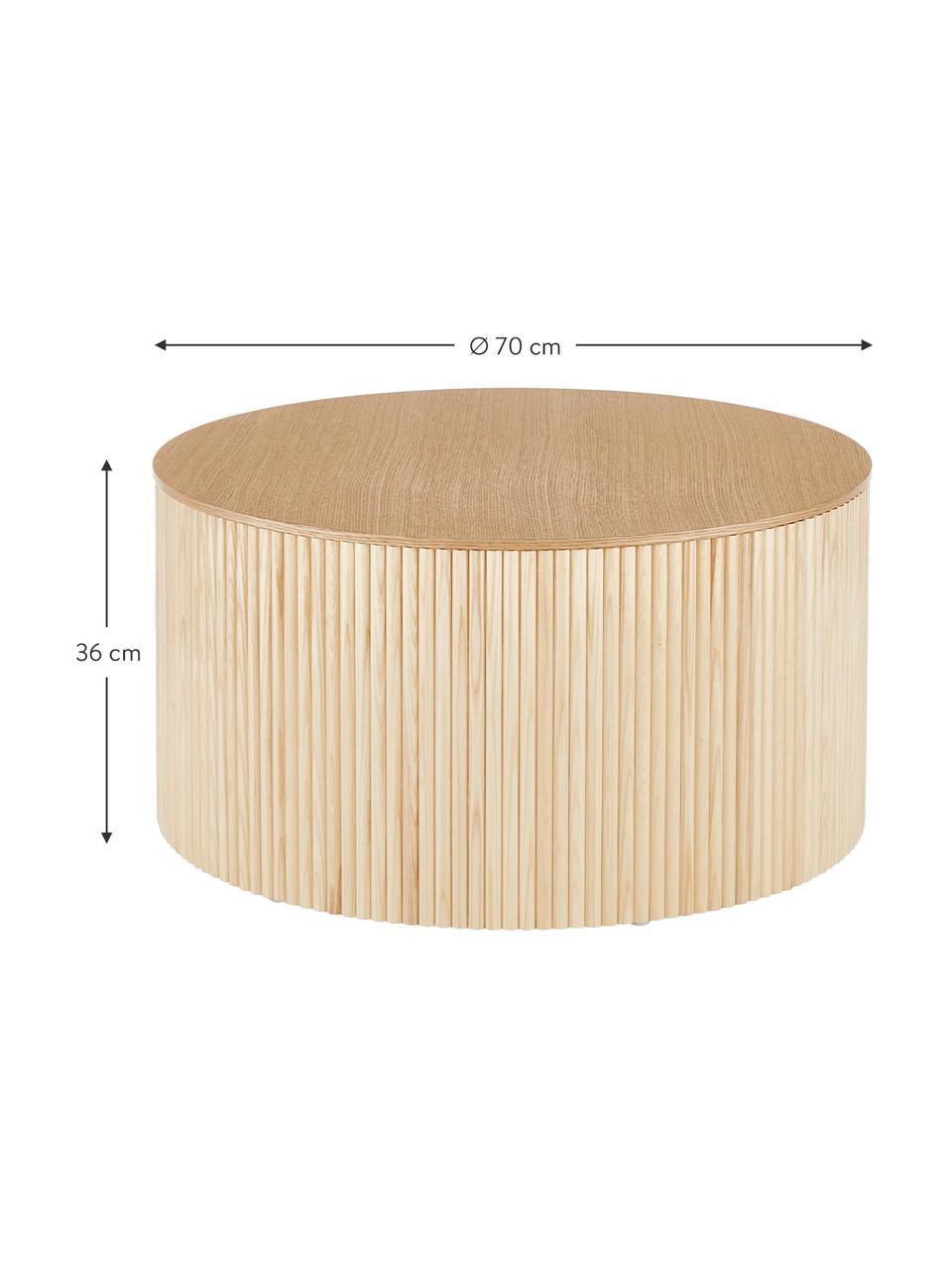 Drewniany stolik kawowy z miejscem do przechowywania Nele, Płyta pilśniowa (MDF) z fornirem z drewna jesionowego, Okleina jesionowa, Ø 70 x W 36 cm