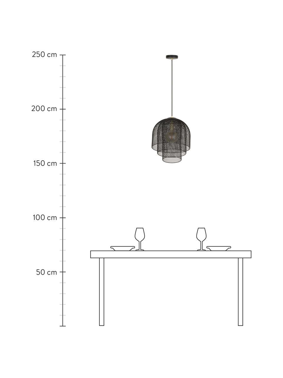 Lampada a sospensione in metallo Louie, Baldacchino, portalampada e paralume: nero opaco Cavo: nero opaco, Ø 40 x Alt. 43 cm
