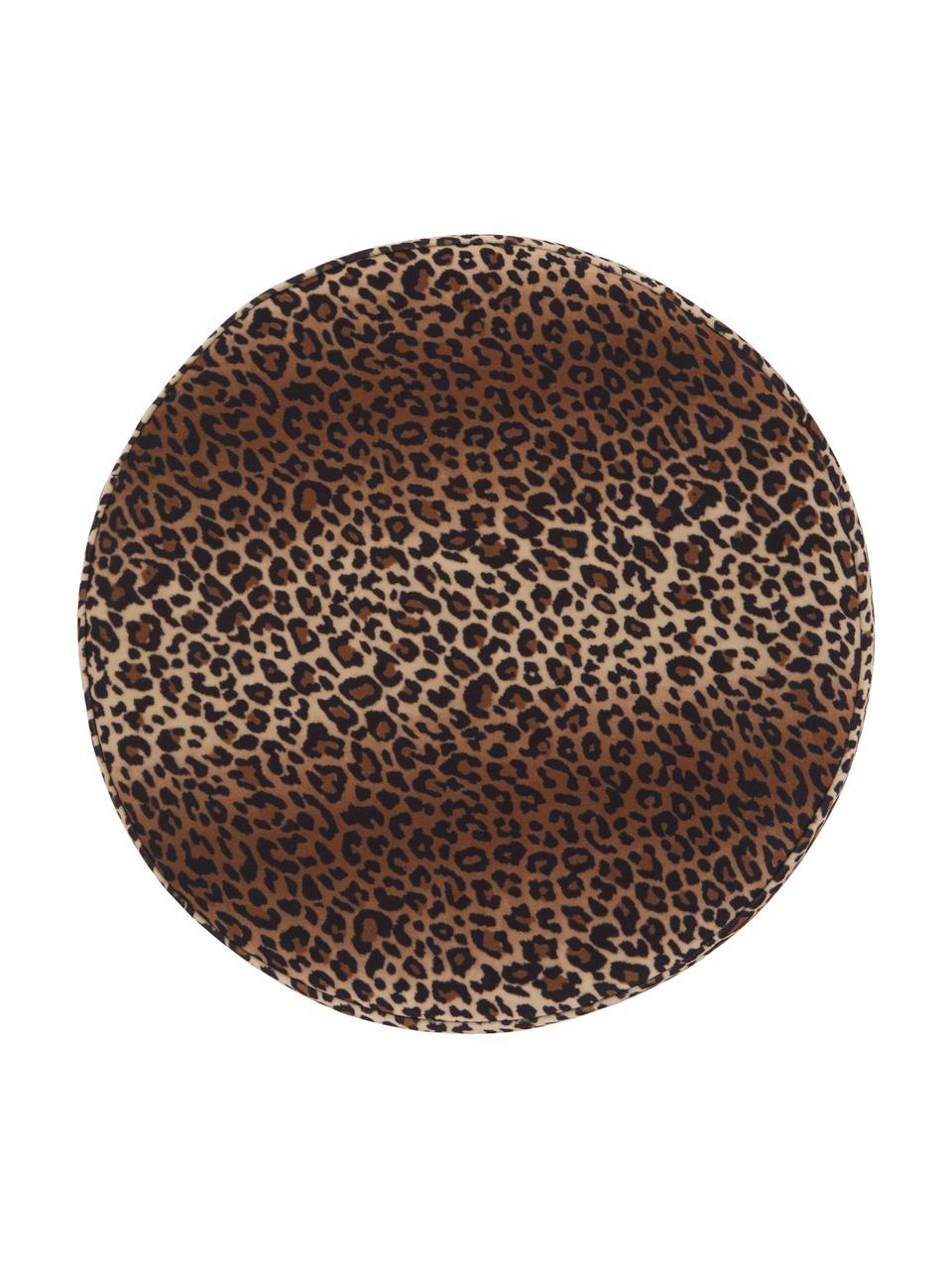 Pouf in velluto con motivo leopardato Daisy, Rivestimento: velluto (poliestere) Il r, Struttura: compensato, Marrone, Ø 38 x Alt. 45 cm
