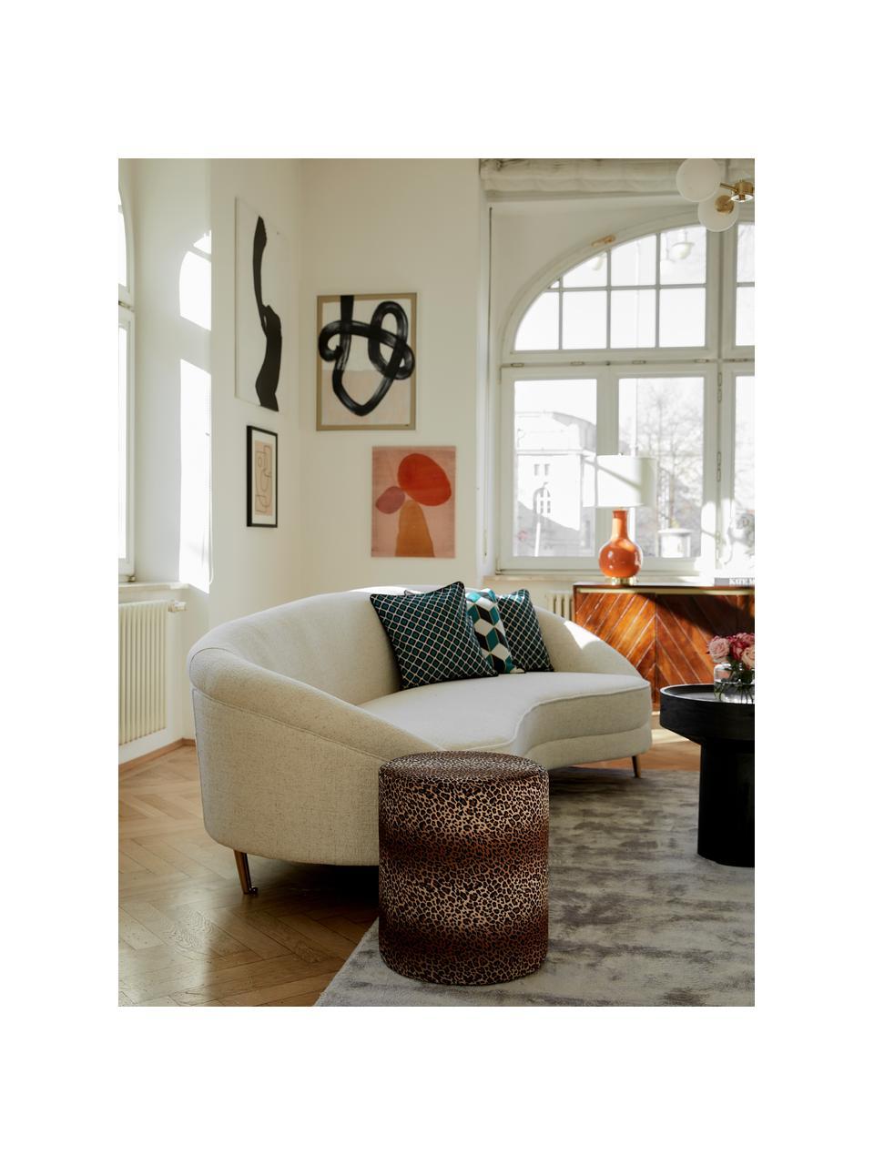 Fluwelen poef Daisy met luipaard patroon, Bekleding: fluweel (polyester), Frame: multiplex, Bruin, Ø 38 x H 45 cm