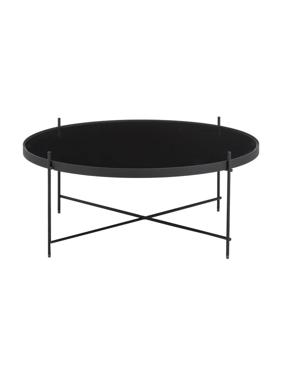 Ronde salontafel Cupid met glazen tafelblad, Frame: gepoedercoat ijzer, Tafelblad: zwart glas, Zwart, Ø 83 x H 35 cm