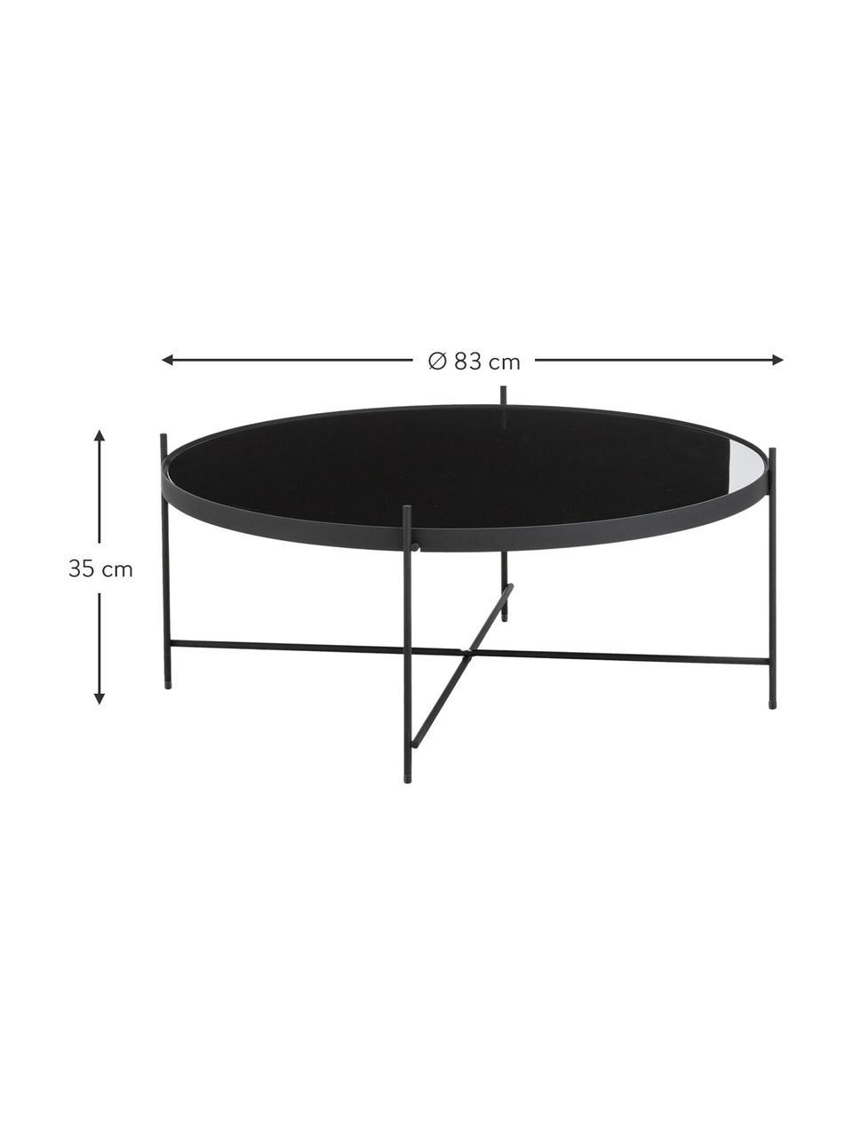 Okrągły stolik kawowy ze szklanym blatem Cupid, Stelaż: żelazo malowane proszkowo, Blat: czarne szkło, Czarny, Ø 83 x W 35 cm