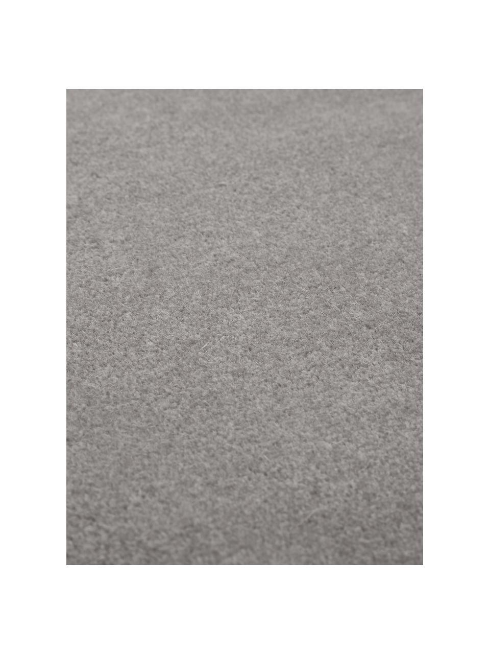 Wollen vloerkleed Ida in grijs, Bovenzijde: 100% wol, Onderzijde: 60% jute, 40% polyester, Grijs, 300 x 400 cm