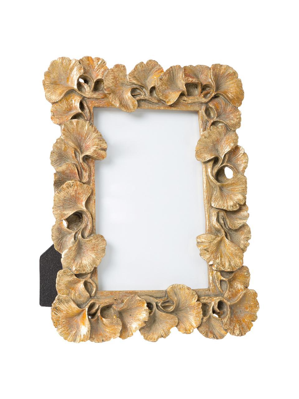 Bilderrahmen Macky, Rahmen: Polyresin, Front: Glas, Rückseite: Karton, Metall, lackiert, Goldfarben, 13 x 18 cm