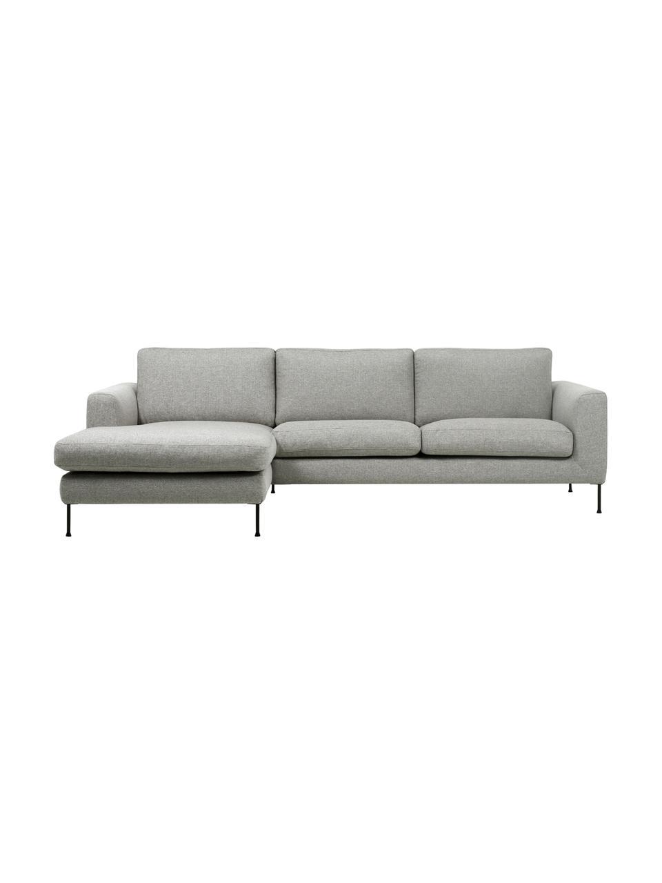 Canapé d'angle 3places gris clair Cucita, Tissu gris clair