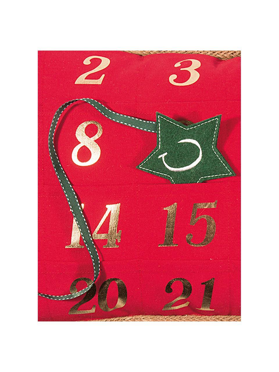 Housse de coussin calendrier de l'Avent Advent, Rouge, vert