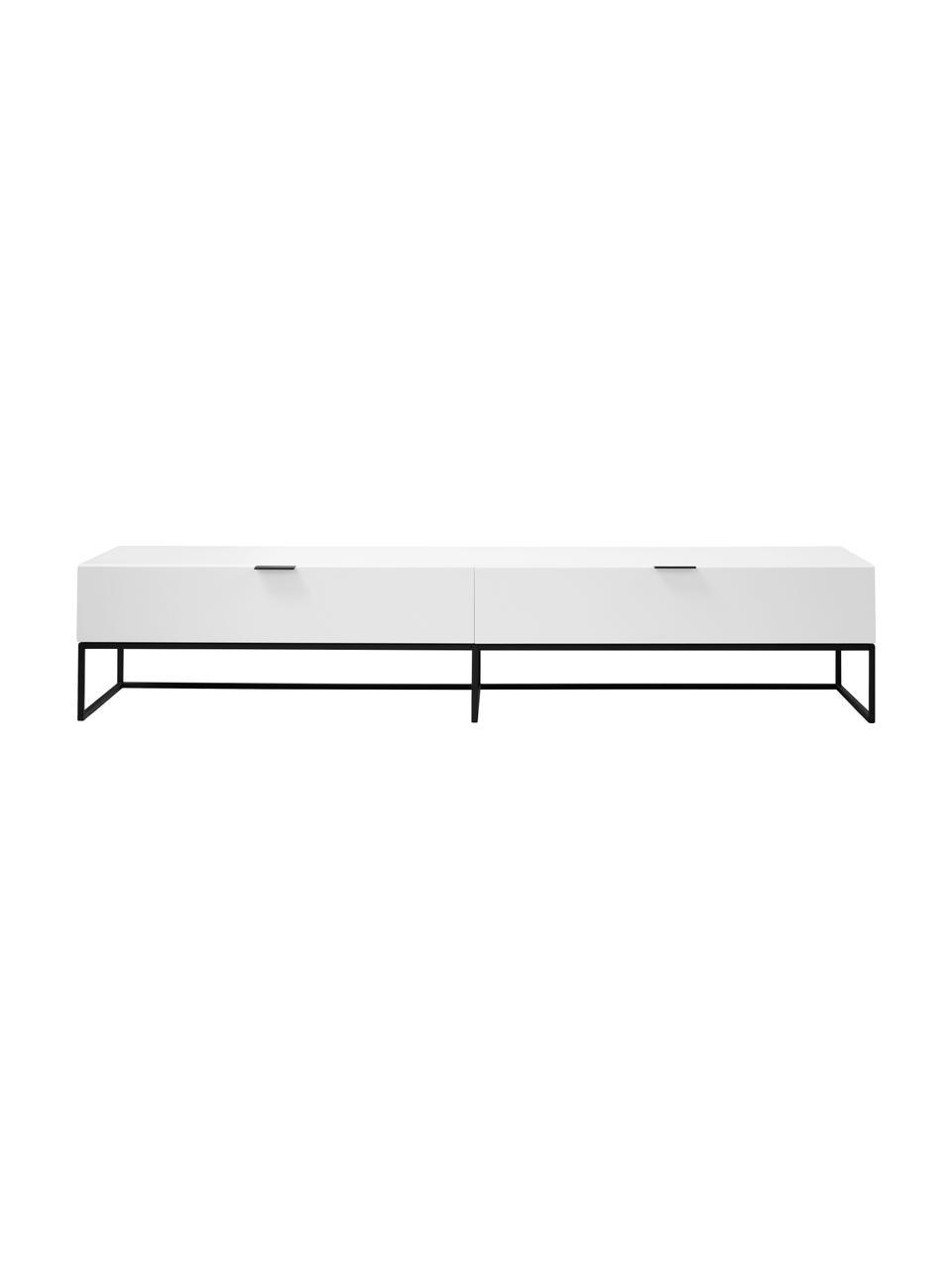 Weißes TV-Lowboard Kobe mi Schublade, Korpus: Weiß, matt Gestell und Griffe: Schwarz, matt, 200 x 40 cm