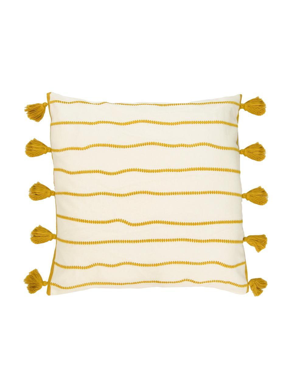 Kissenhülle Blanket mit Quasten, 100% Baumwolle, Gelb, Weiß, 50 x 50 cm