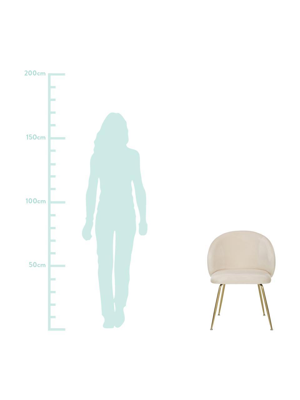 Fluwelen stoelen Luisa, 2 stuks, Poten: gelakt metaal, Fluweel crèmewit, goudkleurig, B 61 x D 58 cm