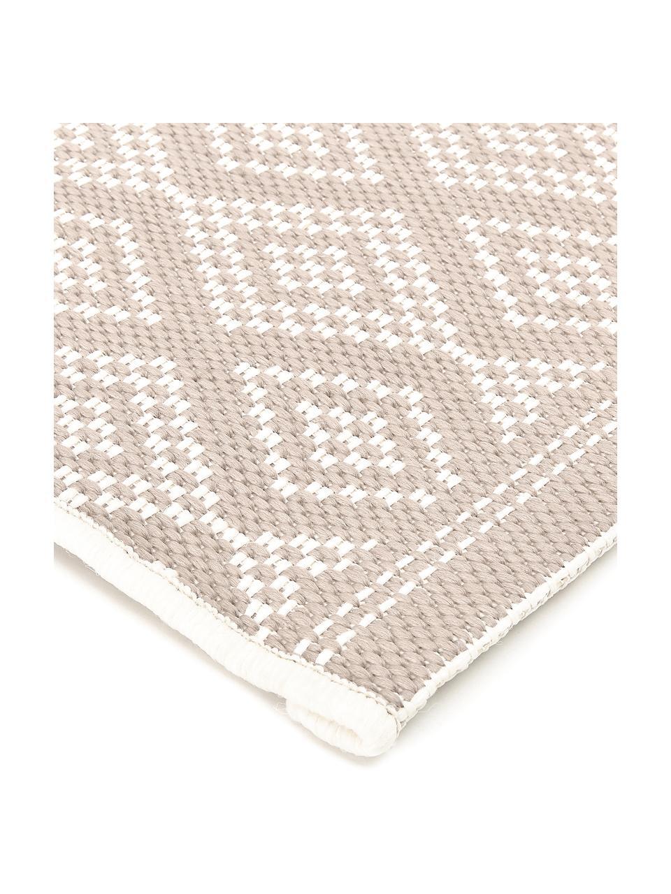 Passatoia beige/crema da interno-esterno Capri, 86% polipropilene, 14% poliestere, Bianco crema, beige, Larg. 80 x Lung. 250 cm