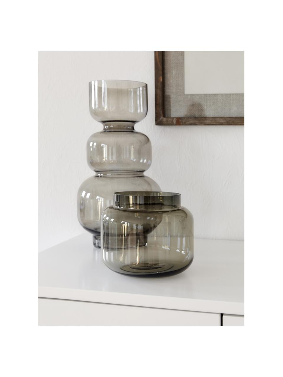 Vaso basso in vetro Lasse, Vetro, Grigio trasparente, Ø 16 x Alt. 14 cm
