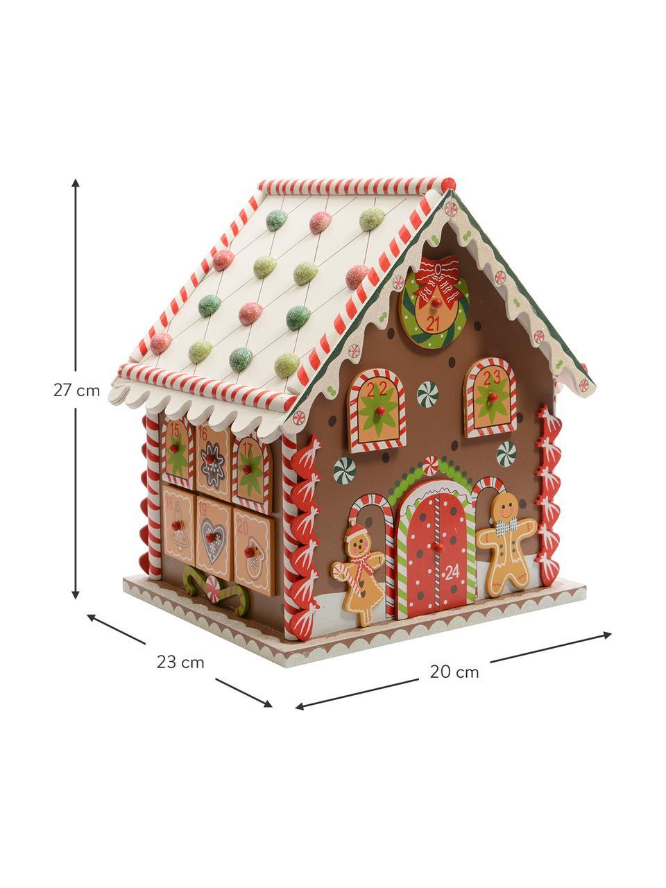 Kalendarz adwentowy House, Płyta pilśniowa średniej gęstości, powlekany, Brązowy, wielobarwny, S 23 x W 27 cm