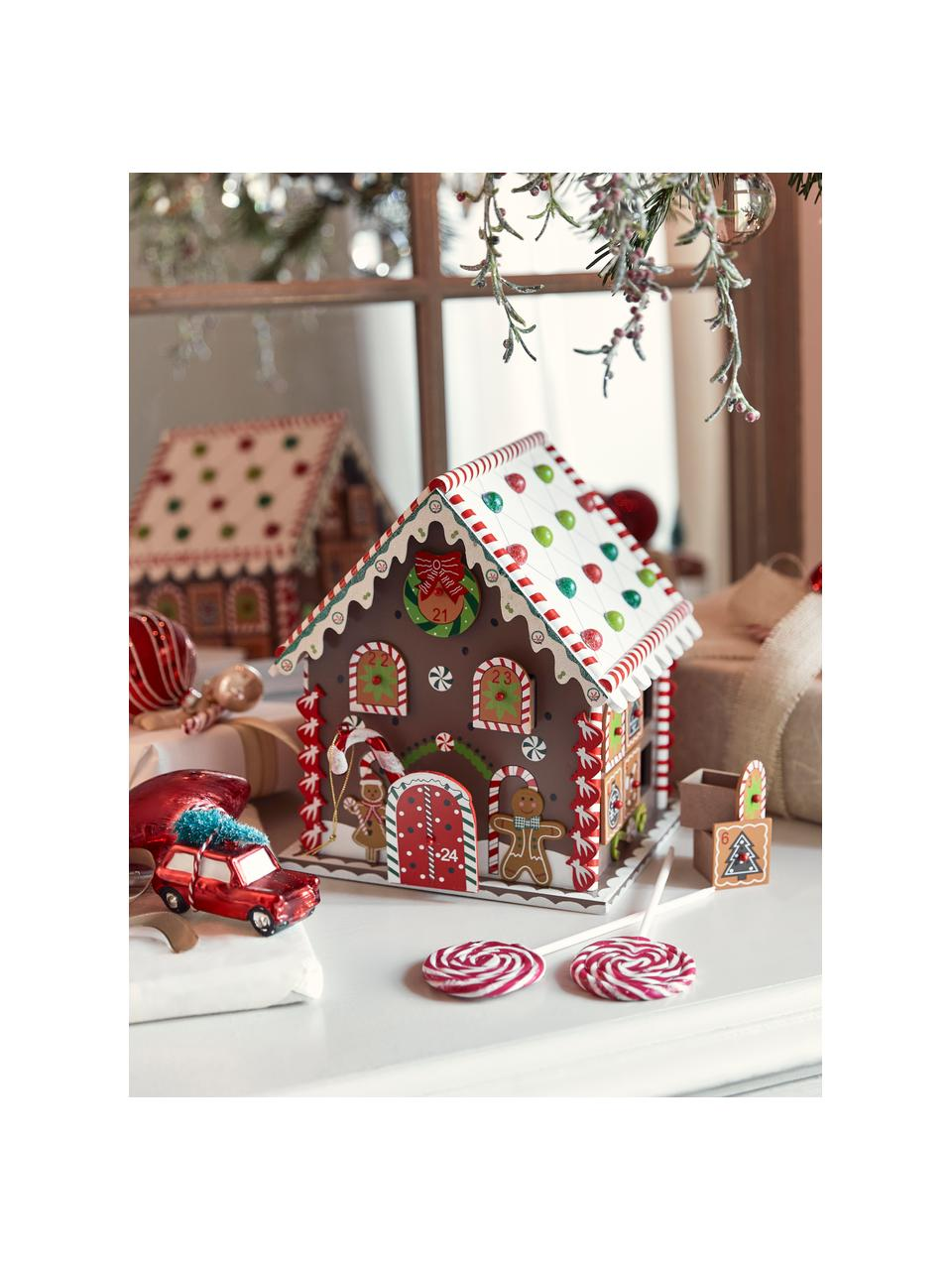 Adventskalender House zum Befüllen H 27 cm, Mitteldichte Holzfaserplatte, beschichtet, Braun, Mehrfarbig, 23 x 27 cm