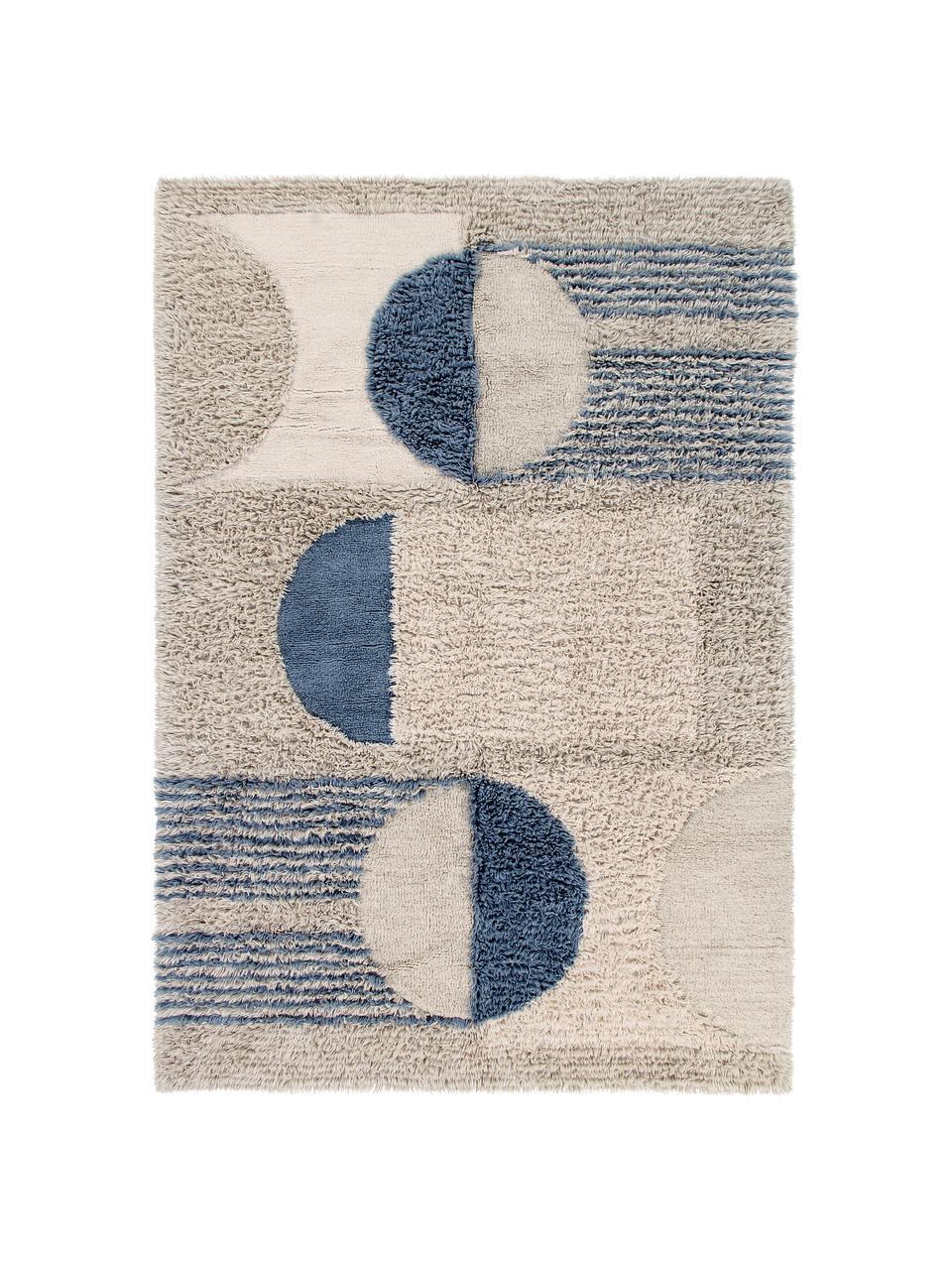 Tappeto in lana lavabile con motivo geometrico Woolable Sunray, Retro: cotone riciclato Nel caso, Beige, color sabbia, marrone, blu scuro, Larg. 170 x Lung. 240 cm (taglia M)