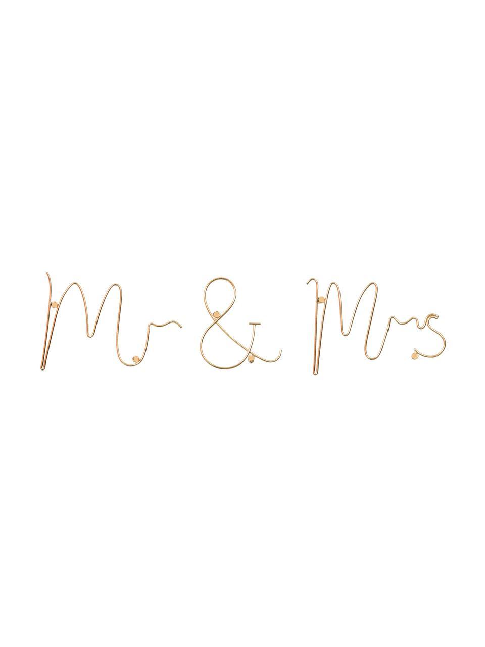 Dekoracja ścienna z aluminium Mr & Mrs, Aluminium, Odcienie złotego, S 35 x W 12 cm