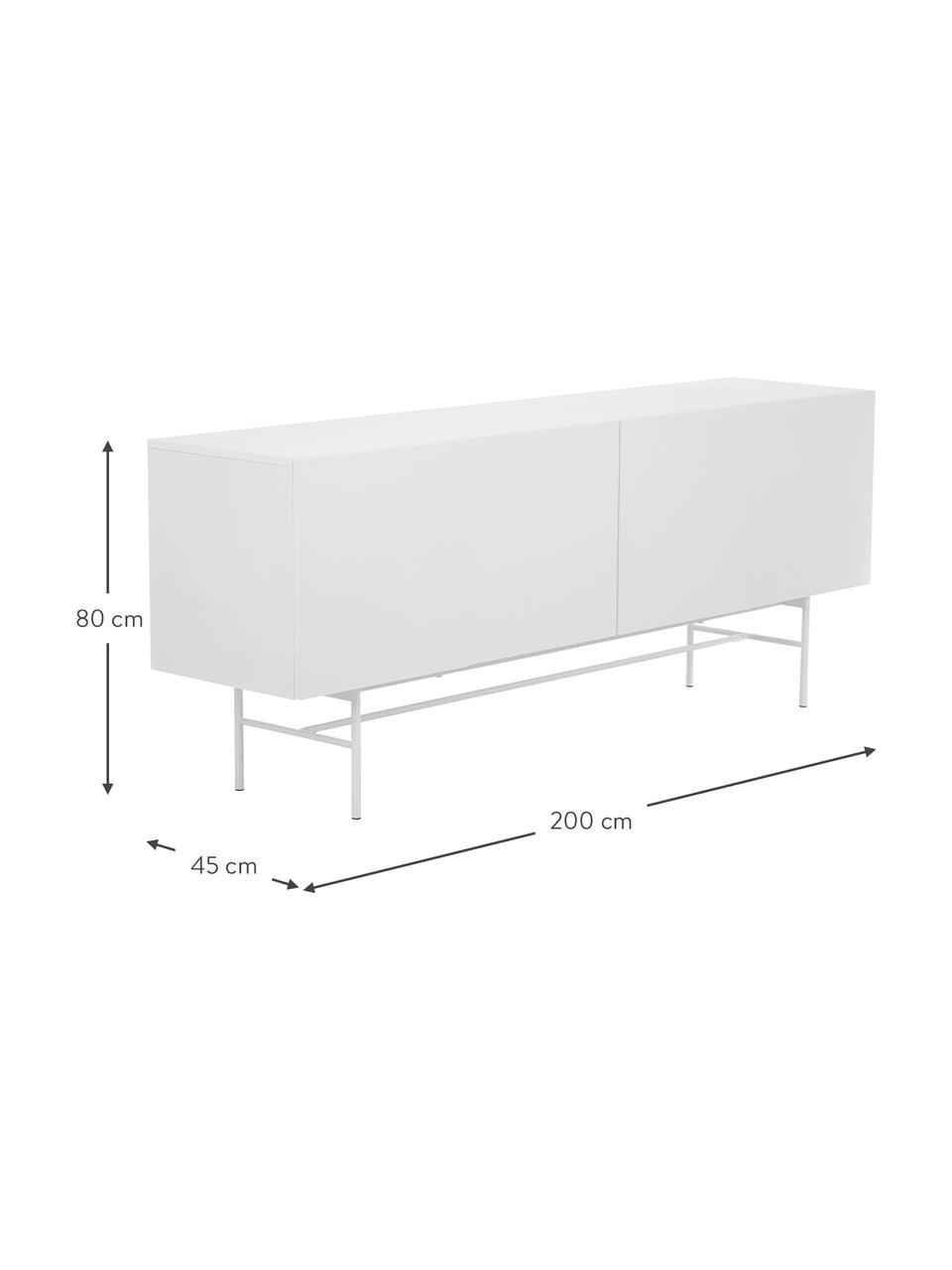 Modernes Sideboard Anders mit 4 Türen in Weiß, Korpus: Mitteldichte Holzfaserpla, Füße: Metall, pulverbeschichtet, Weiß, 200 x 79 cm