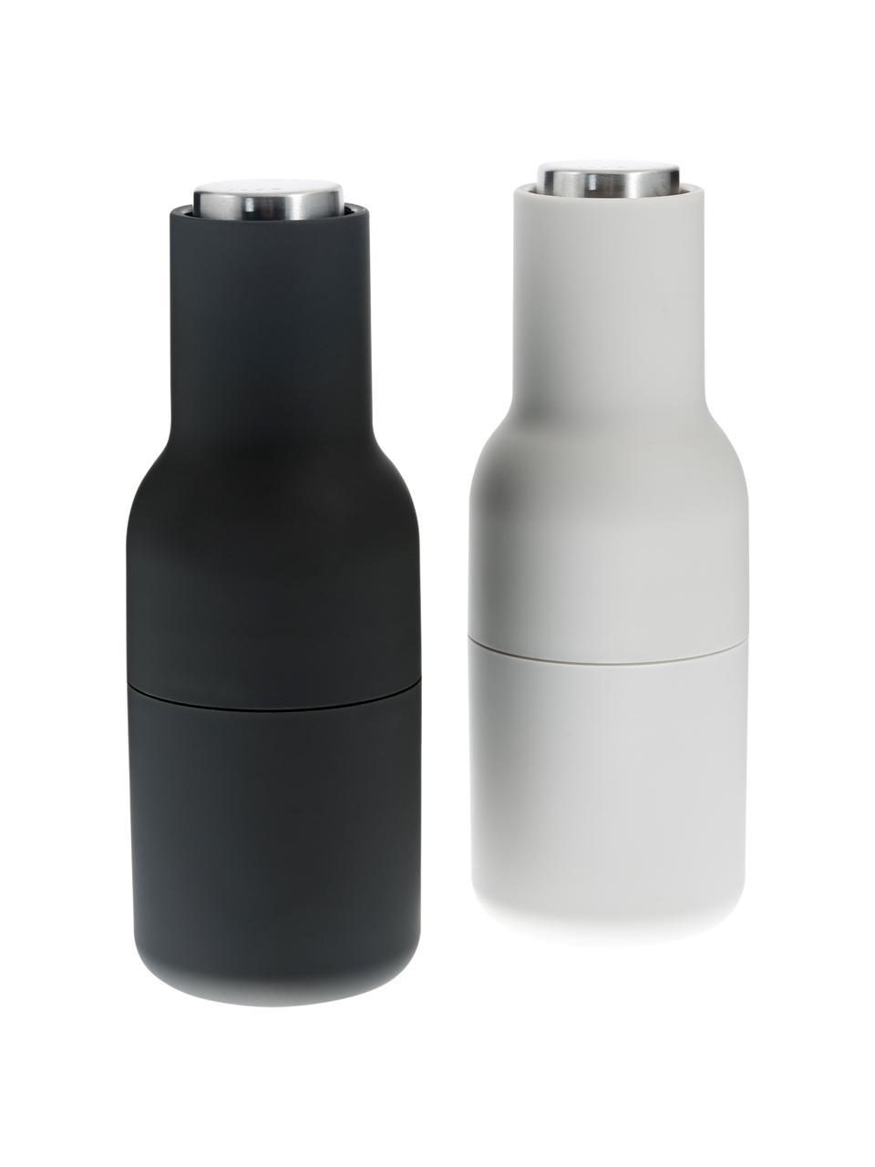 Komplet młynków do soli i pieprzu Bottle Grinder, 2elem., Korpus: tworzywo sztuczne, Antracytowy, jasny szary, Ø 8 x W 21 cm