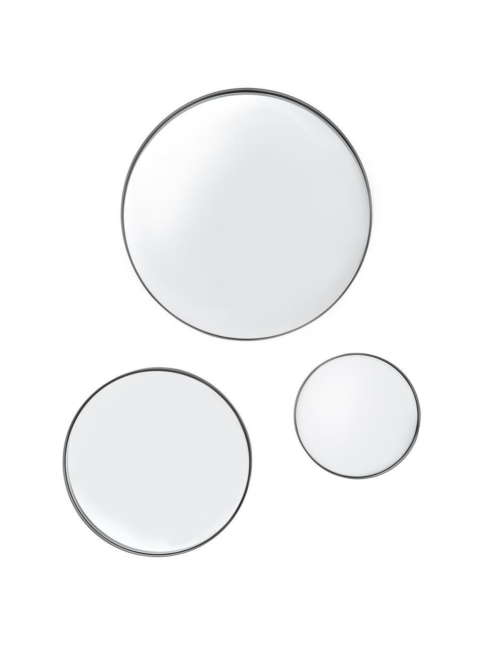 Set 3 specchi da parete con cornice nera Ivy, Cornice: metallo zincato, Superficie dello specchio: lastra di vetro, Retro: pannello di fibra a media, Nero, Set in varie misure