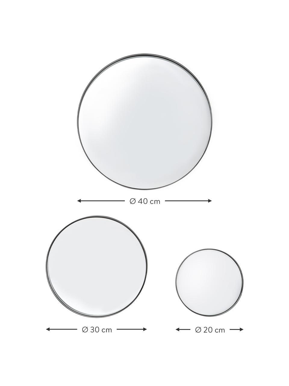 Rundes Wandspiegel-Set Ivy mit schwarzem Metallrahmen, 3-tlg, Rahmen: Metall, pulverbeschichtet, Rückseite: Mitteldichte Holzfaserpla, Spiegelfläche: Spiegelglas, Schwarz, Set mit verschiedenen Größen