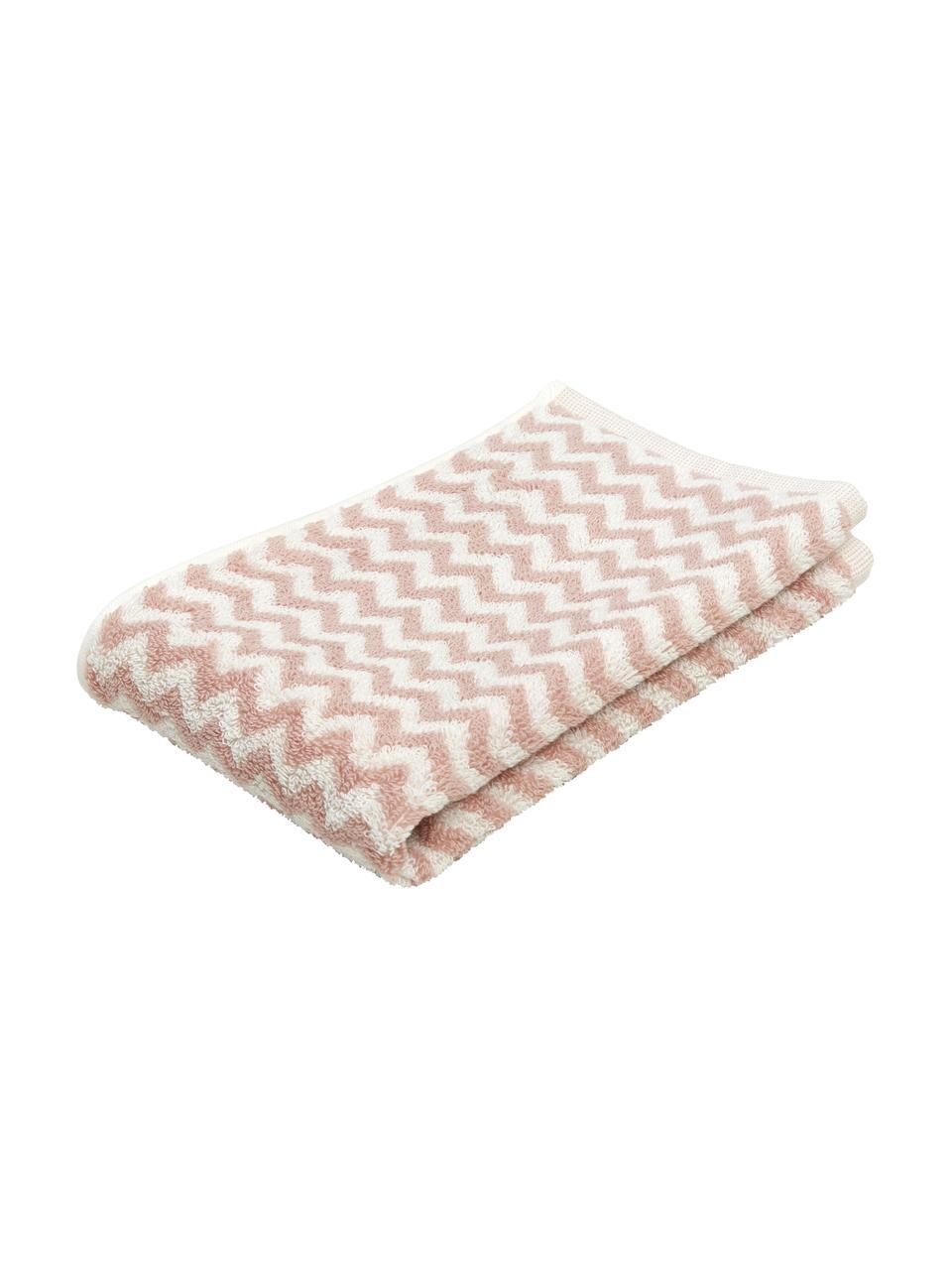 Serviette de toilette coton pur à imprimé zigzag Liv, Rose, blanc crème