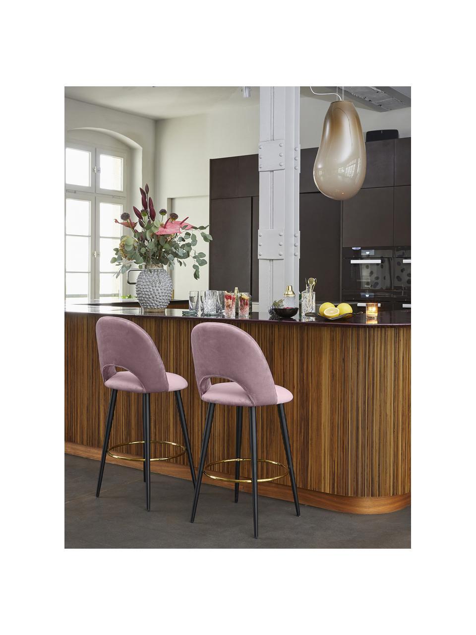 Krzesło barowe z aksamitu Rachel, Tapicerka: aksamit (wysokiej jakości, Nogi: metal malowany proszkowo, Aksamitny mauve, S 48 x W 110 cm