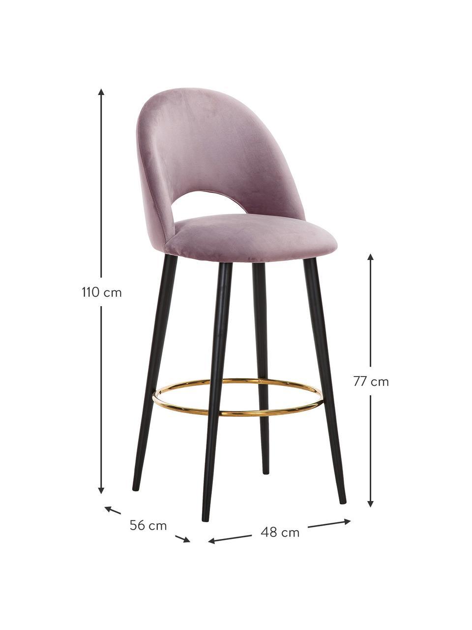 Krzesło barowe z aksamitu Rachel, Tapicerka: aksamit (poliester) 5000, Nogi: metal malowany proszkowo, Aksamitny mauve, S 48 x W 110 cm