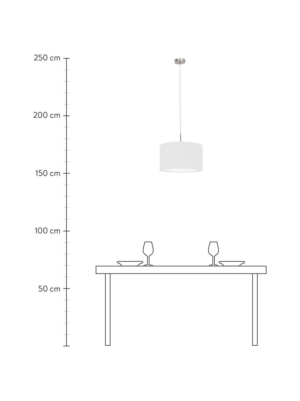 Pendelleuchte Parry, Lampenschirm: Textil, Baldachin: Metall, vernickelt, Silberfarben, Ø 38 x H 22 cm
