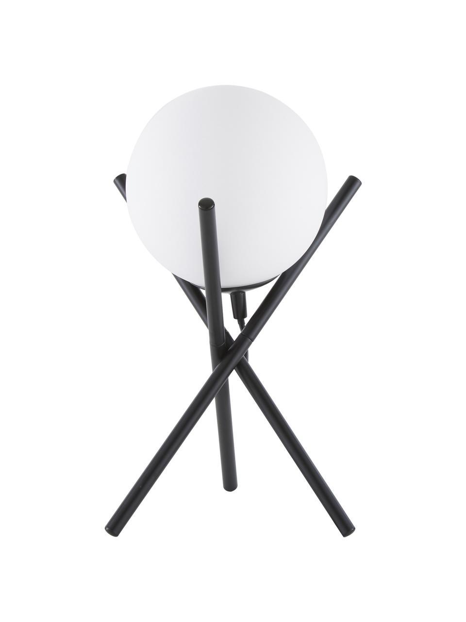 Kleine Tripod Tischlampe Erik mit Glasschirm, Lampenschirm: Glas, Lampenfuß: Metall, pulverbeschichtet, Weiß, Schwarz, Ø 15 x H 33 cm