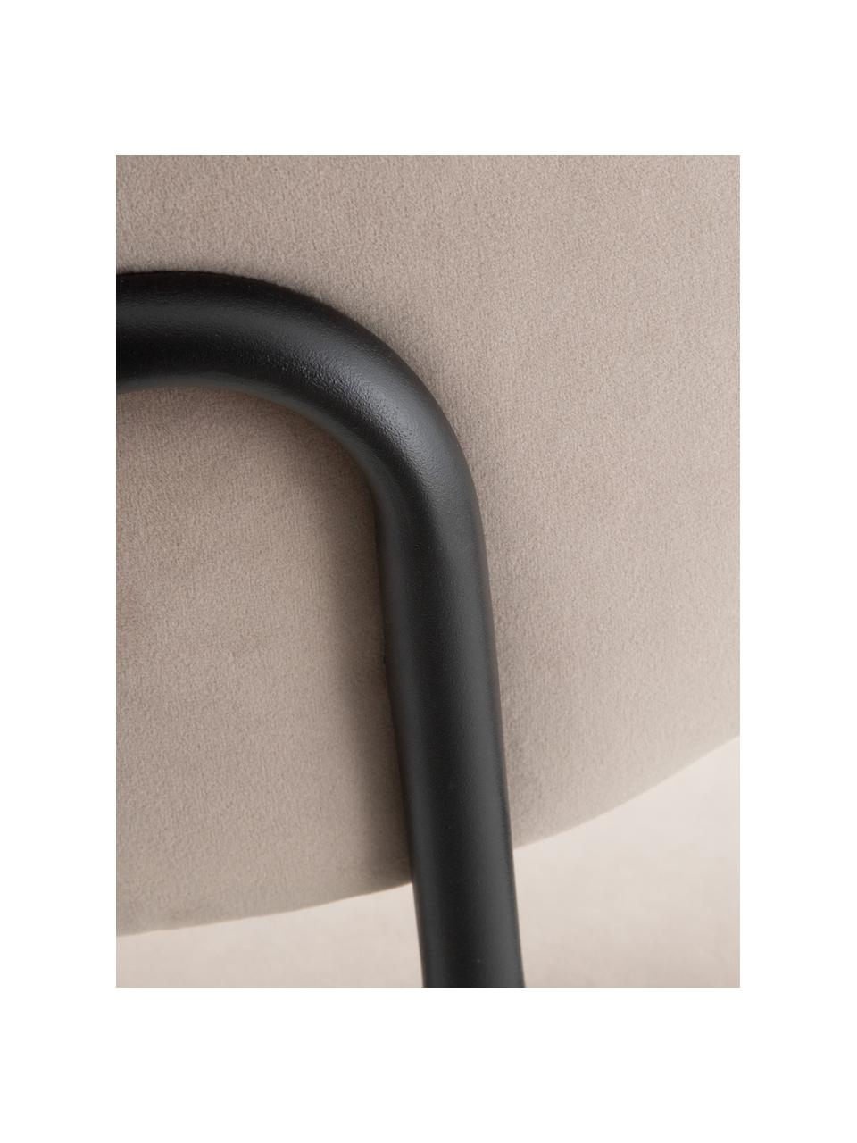 Krzesło tapicerowane z aksamitu Elyse, Tapicerka: 100% aksamit poliestrowy,, Nogi: metal, Szary, czarny, S 49 x G 46 cm