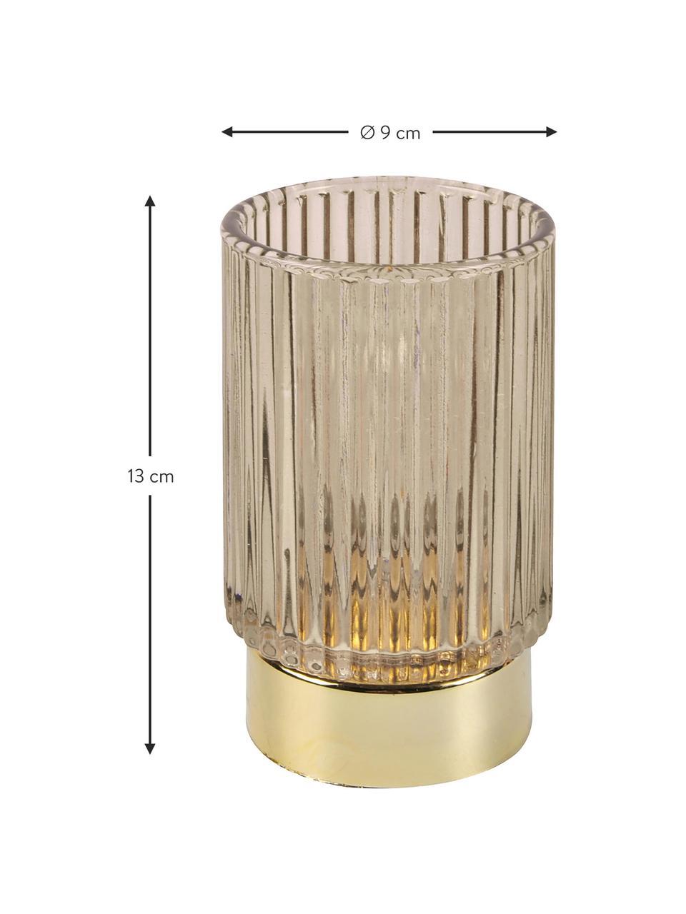 LED waxinelichthouder Ribbed, Glas, Beige, Ø 9 x H 13 cm